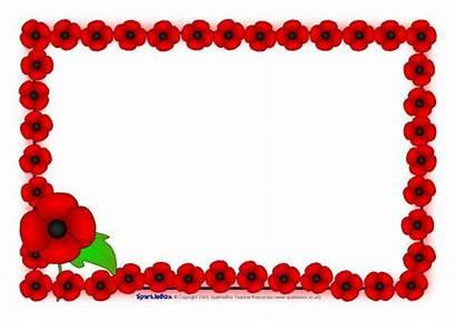 Remembrance Poppy Borders Sparklebox Landscape A4 Related
