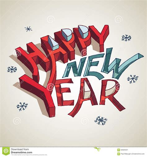 happy new year 3d typography illustration stock vector image 62829331