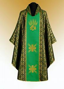 Design Text Over Image Traditional Chasuble Stole Chalice Veil