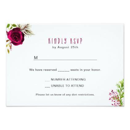 Burgundy Floral Wreath RSVP reply card buffet 3979