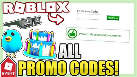 redeemable promo codes roblox youtube