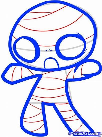 Draw Mummy Step Halloween Drawing Things Drawings
