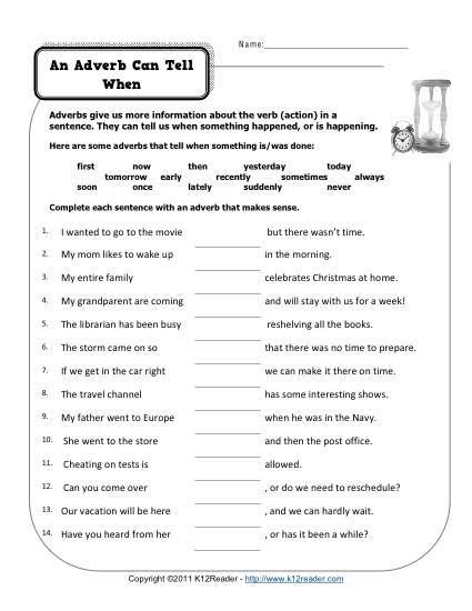 an adverb can tell when worksheets adverbs and free printable