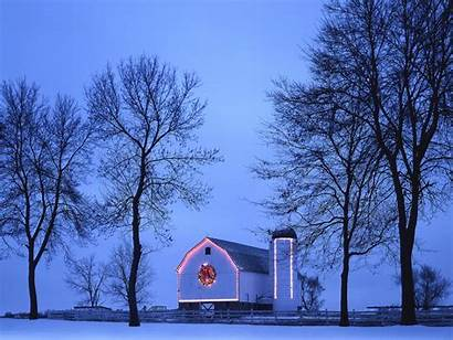 Christmas Country Merry Snow Scenes Winter Barn