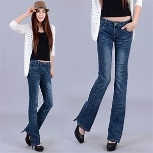 Womenu0026#39;s spring elastic boot cut jeans female wide leg ...