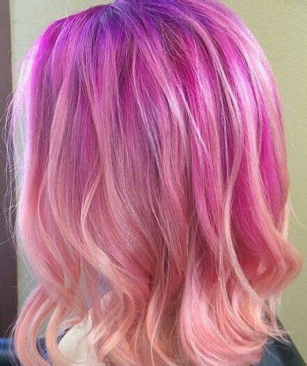 Purple To Pink Peach Hair Colors Ideas