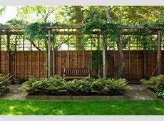 brick privacy fence landscape contemporary with wood