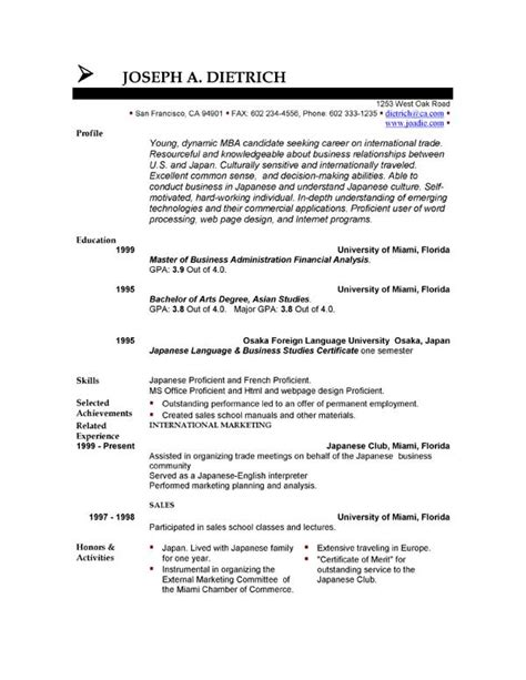 Free Resume Templates Exles by Free Resume Template Downloads Easyjob