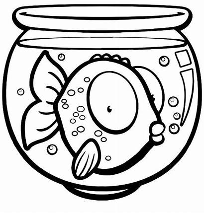 Fish Coloring Bowl Eyed Pages Goldfish Drawing