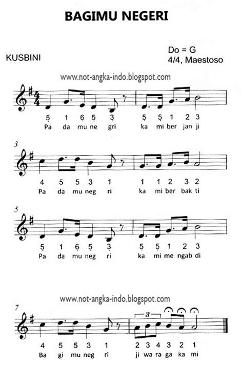 not angka lagu bagimu negeri not angka lagu indonesia