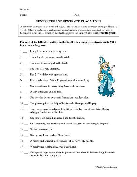 complete sentence worksheets sentence fragments