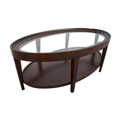 wood and glass table 90 carson carson oval glass and wood coffee table 1563