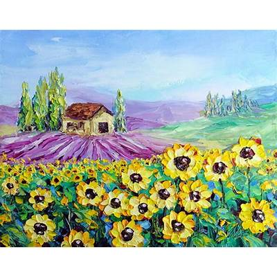 Sunflower Lavender Field Landscape Oil Painting Italy Tuscany
