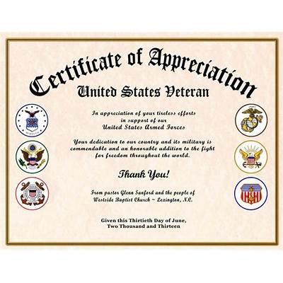 Explore veterans appreciation certificates todays homepage all veterans certificate of appreciation yadclub Image collections