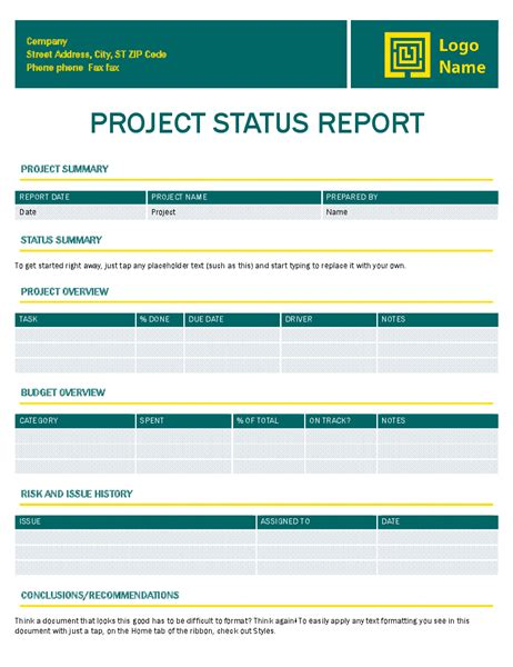 project status report template invoice timeless design office templates