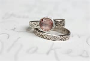personalized wedding rings sapphire engagement ring wedding band set blush pink