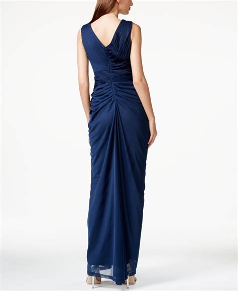 papell draped gown papell embellished v neck draped gown in blue lyst