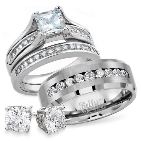 bellux style his and hers wedding rings set for him and