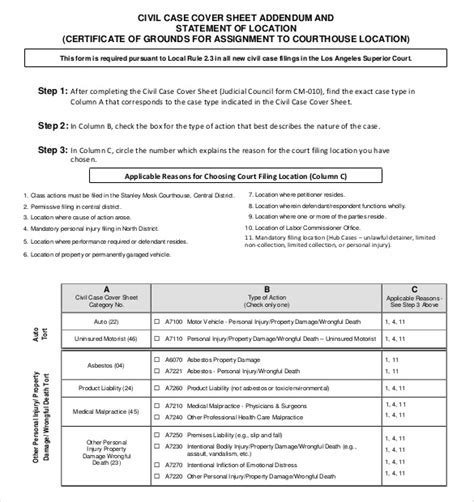 civil cover sheet 12 free word pdf documents download