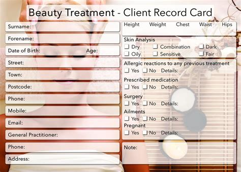 client record card beauty template beauty client card treatment consultation card beauty