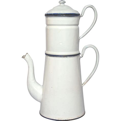 french classic white enamel graniteware drip coffee pot