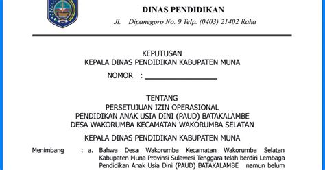 contoh surat izin operasional sekolah dasar surat box