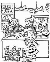 Coloring Printable Workshop Toy Drawing Elves Printables Melodiesplus Getdrawings sketch template