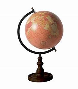 Globe Terrestre En Bois : globe terrestre style ancien rose saumon base noire ~ Teatrodelosmanantiales.com Idées de Décoration
