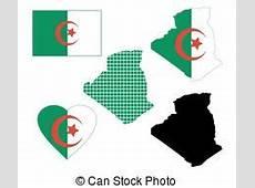 Colors of algeria Flag in map of algeria