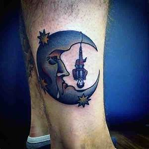 90 Moon Tattoos For Men - Ship Of Light On The Sea Of Night