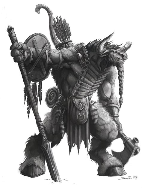 safebooru armor axe bow horns minotaur monochrome shield