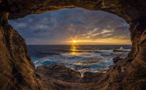 Sunset View from Ocean Cave - Oceans & Nature Background ...