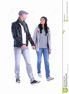Front View Of Going Young Couple Walking Stock Image ...