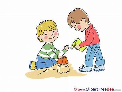 Kindergarten Friends Sandbox Clipart Illustration Kinder Sandkasten