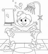 Bathroom Coloring Boy Illustration Vector Clipart Taking Shower Hygiene sketch template