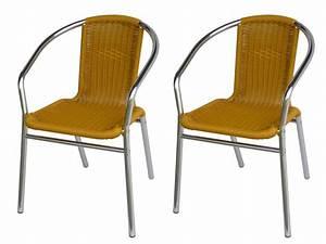 Chaise En Résine Tressée : lot 2 chaises jardin aluminium r sine tress e lemonada ~ Dallasstarsshop.com Idées de Décoration