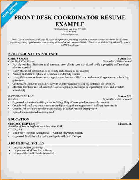 10 front desk for office resume invoice