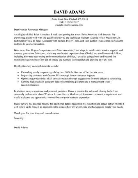 sle of customer service associate resume application letter sle cover letter sle sales associate