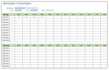 einfacher dienstplan schichtplan alle meine vorlagende