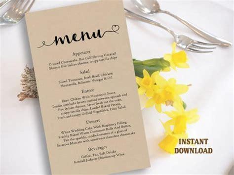 burlap wedding menu template diy menu card template