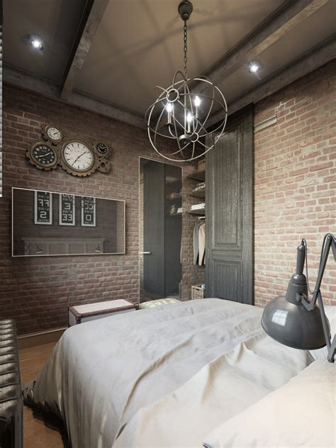 Three Colored Loft Apartments With Exposed Brick Walls by Three Colored Loft Apartments With Exposed Brick Walls
