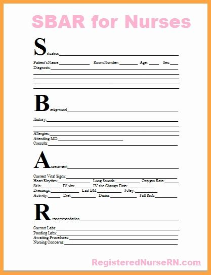 Sbar Template Sbar Template Templates Collections
