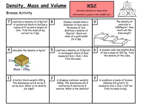 Density, Mass And Volume (grade Cb) By Arthompson1987  Teaching Resources Tes