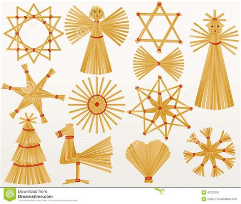 christmas straw decorations stock vector image