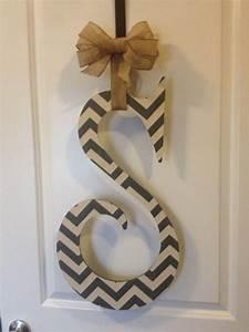 grey chevron wooden letter door hanger door hangers With wooden initial letters for door