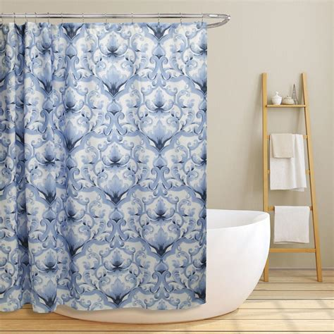 blue shower curtains miley 70 in blue scroll damask canvas shower curtain ls