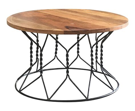 Imagine it on a nice fluffy rug, with a shitload. Industrial Style Light Mango Wood Coffee Table with Twisted Metal Frame