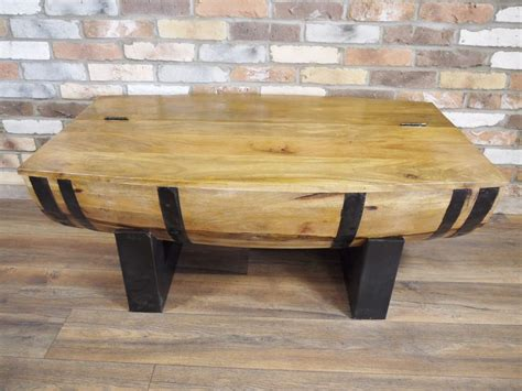 Just wanted to share this coffee table that my amazing partner made out of an old whisky barrel. Barrel Rustic Wooden Coffee Table With Storage Barrel Coffee Table Living Room #Unbrand ...