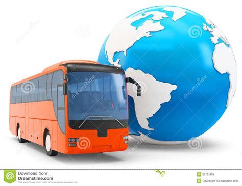 bus travel   globe stock illustration illustration  technology emblem