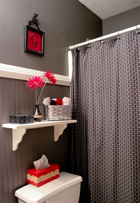 gray black  red bathroom bathroom red red bathroom